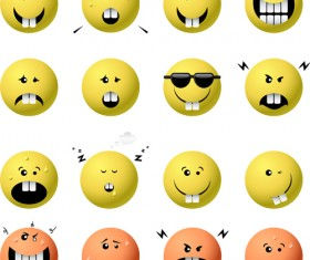 Spherical face expression icons set