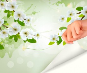 Spring background with hand vector