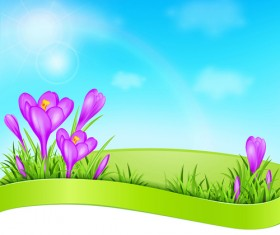 Spring background with purple flower vector 01