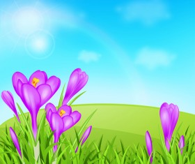 Spring background with purple flower vector 02