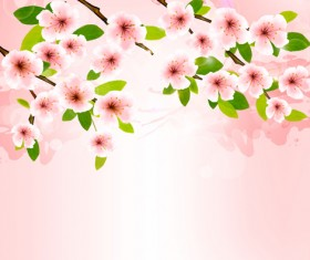 Spring pink background with flowers vector
