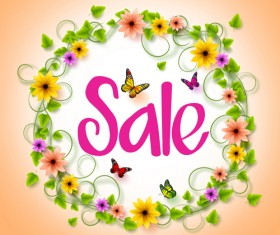 Spring sale background material vector 03