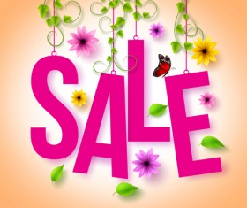 Spring sale background material vector 04