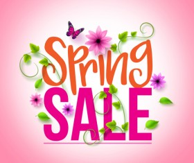 Spring sale background material vector 05