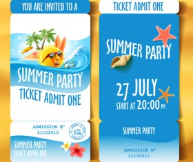 Summer holiday party ticket vector material