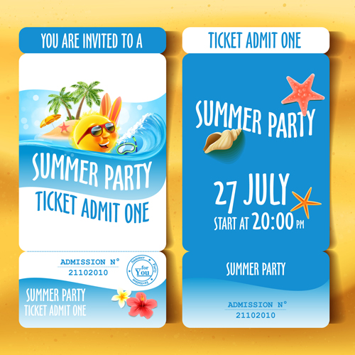 Christmas Party Ticket Template Free: Summer Holiday Party Ticket Vector Material Free Download