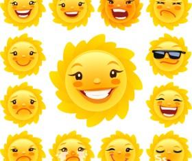 Sun smile Icons vector