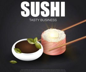 Sushi roll poster vintage vector 09