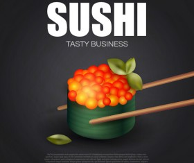 Sushi roll poster vintage vector 10