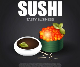 Sushi roll poster vintage vector 11