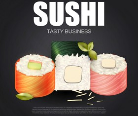 Sushi roll poster vintage vector 13