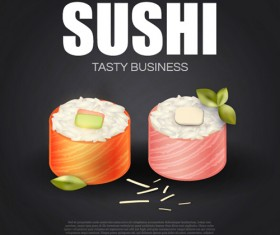 Sushi roll poster vintage vector 14