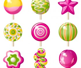 Sweet candies cute icons set 04