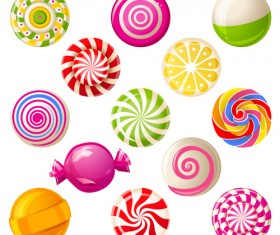 Sweet candies cute icons set 05
