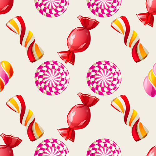 Sweet Candies Vector Seamless Pattern 03 Vector Pattern