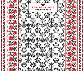 Ukrainian folk style background vector 10
