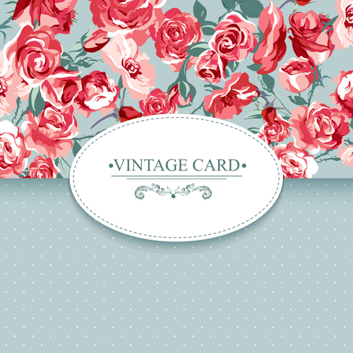 Vintage card with flowers pattern vectors 07 - Vector Card ...
