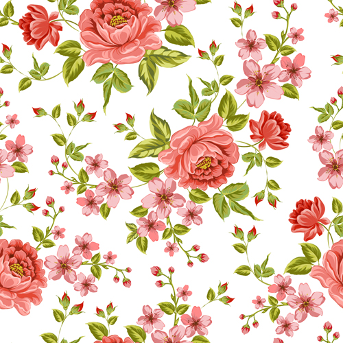 Vintage flower patterns vector graphics 01 free download
