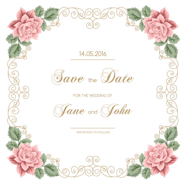 Vintage Flower With Wedding Invitation Vector 05 Vector
