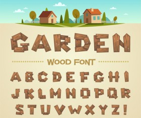 Vintage wood fonts vector material