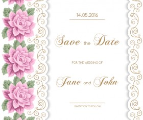 Wedding invitation card with flower vintage vector 01