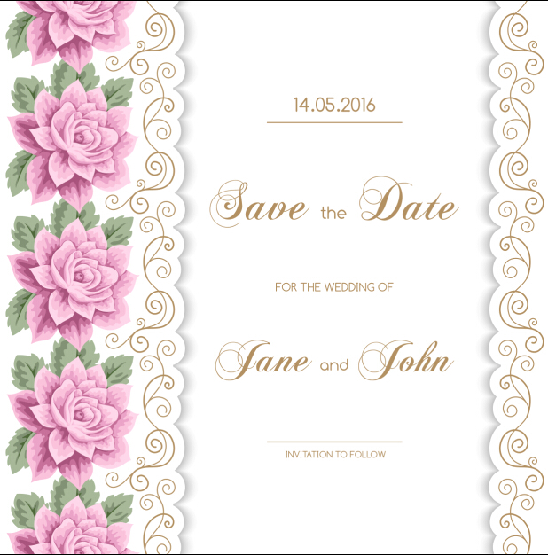 Wedding Invitation Card With Flower Vintage Vector 01 Free