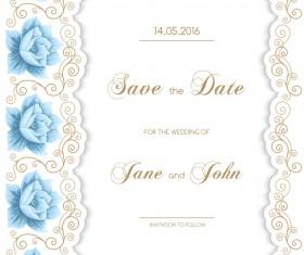 Wedding invitation card with flower vintage vector 02