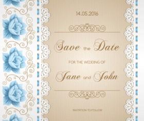 Wedding invitation card with flower vintage vector 03