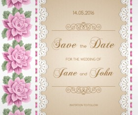 Wedding invitation card with flower vintage vector 04
