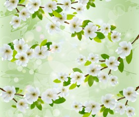 White flower with gree spring background vector