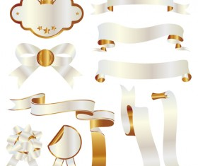 White with golden ribbon and labels vintage vector 01