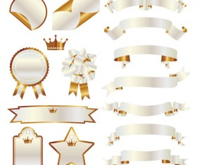 White with golden ribbon and labels vintage vector 02