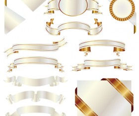 White with golden ribbon and labels vintage vector 03