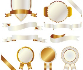 White with golden ribbon and labels vintage vector 06