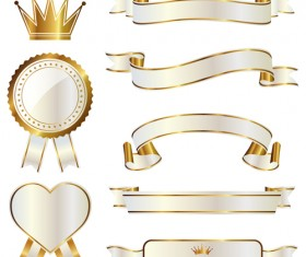 White with golden ribbon and labels vintage vector 07