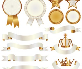 White with golden ribbon and labels vintage vector 08