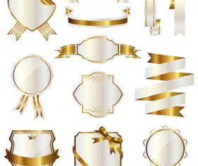 White with golden ribbon and labels vintage vector 10