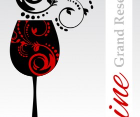 Wine floral with black cup vector