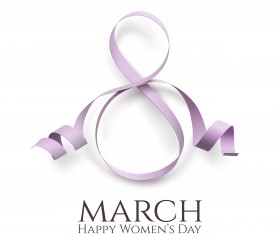 Woman day 8 march card with ribbon vector 01