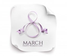 Woman day 8 march card with ribbon vector 02