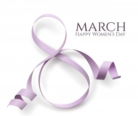 Woman day 8 march card with ribbon vector 03