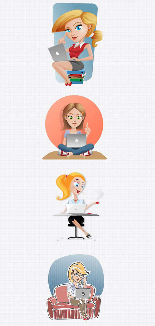 Women with Laptop PSD graphic set