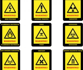 Yellow with black warning sign vector 01