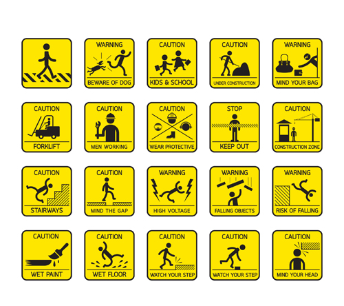 Yellow with black warning sign vector 02 free download
