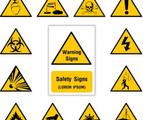 Yellow with black warning sign vector 03