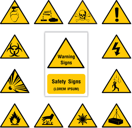 Yellow with black warning sign vector 03 free download