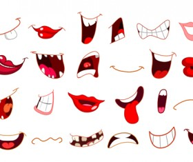 cartoon mouths funny vector