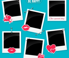 happy love photo frame vector