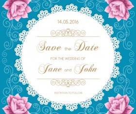 lace wedding invitation card with flower vintage vector 01
