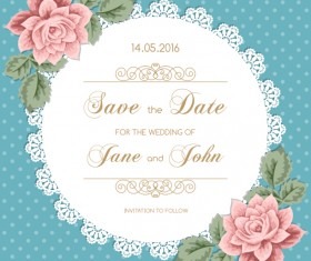 lace wedding invitation card with flower vintage vector 02